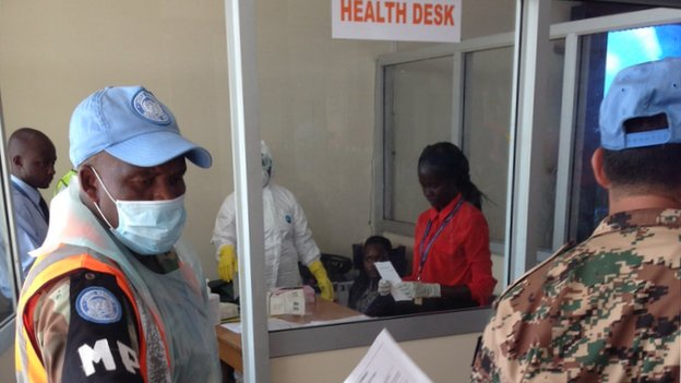Entebbe airport's health desk - Uganda - August 2014
