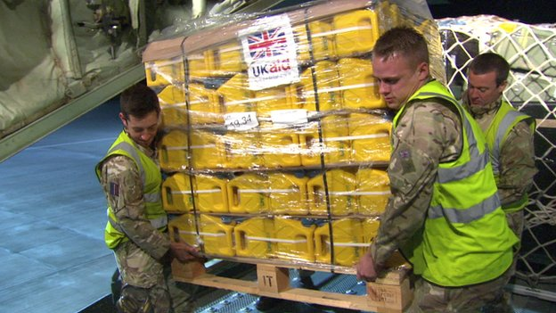 Aid being loaded on to a plane at Brize Norton