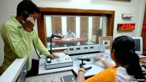 Radio show being produced at All India Radio in 2005.