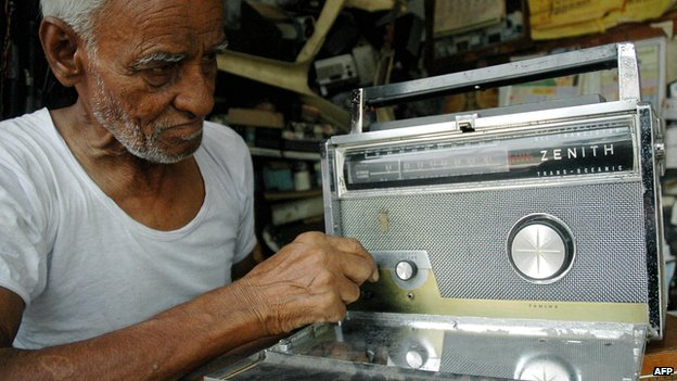 Radio repair man in India