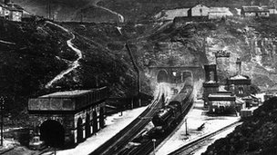 Steam train emerges from the Woodhead Tunnel