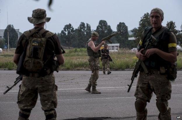 Ukrainian soldiers near Donetsk, 11 August