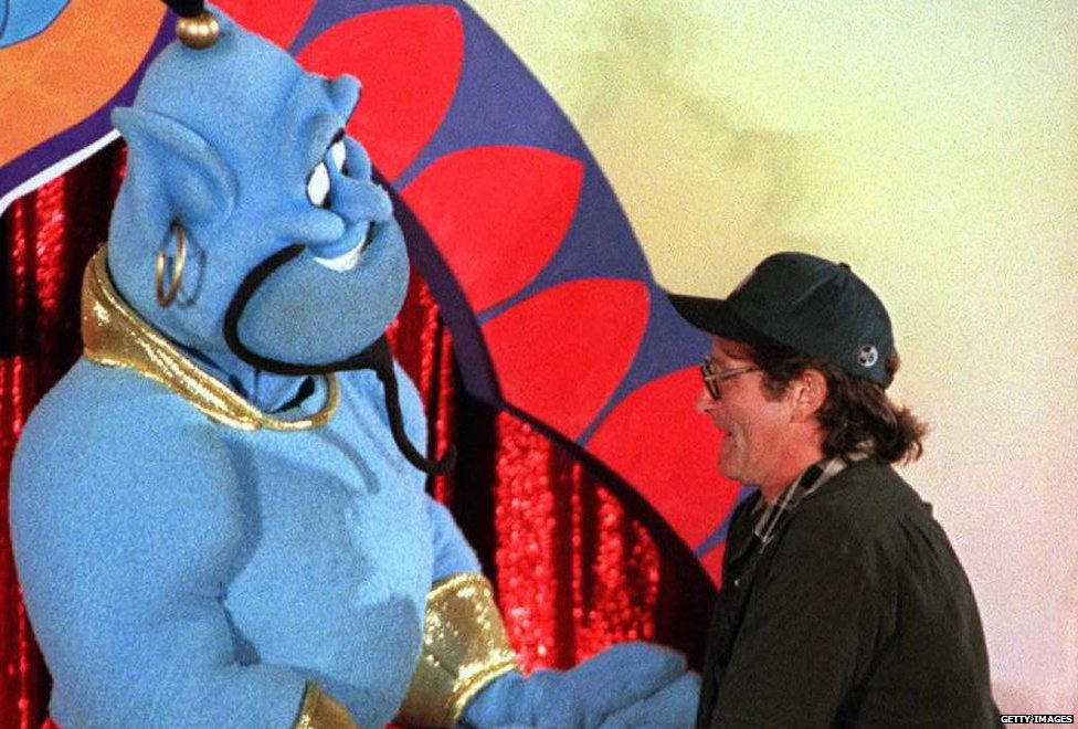 Robin Williams with Aladdin genie
