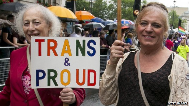 "Two people at Pride in the UK, one holding a ""Trans & Proud"" sign"