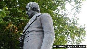 Joseph Locke statue in the Barnsley Park named in his honour