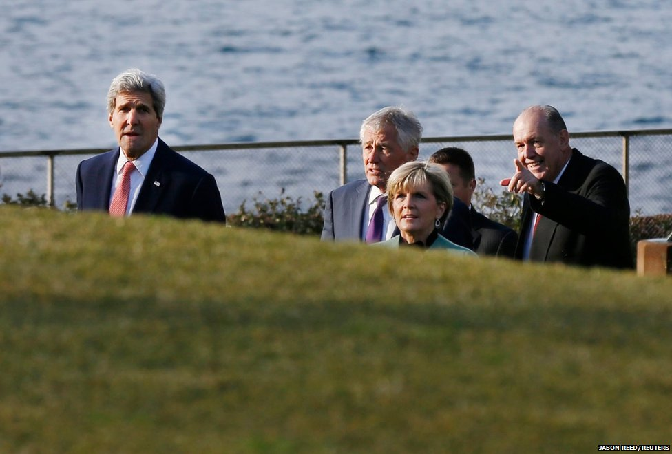 US Secretary of State John Kerry (left) Secretary of Defense (second from left) Chuck Hagel arrive with Australian Foreign Minister Julie Bishop and Australian Defence Minister David Johnston for their AUSMIN meeting at Admiralty House in Sydney