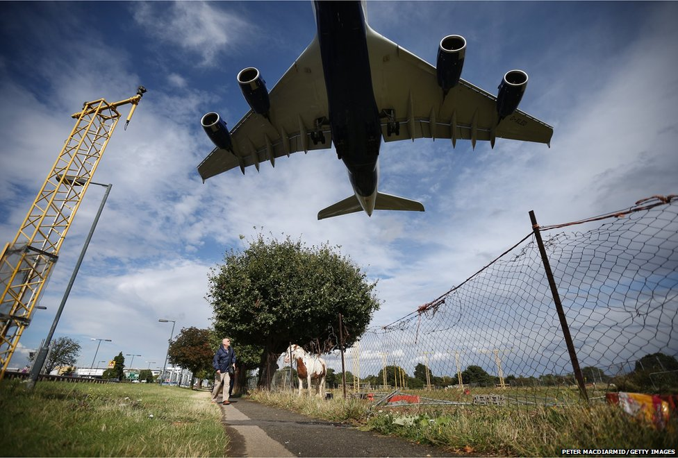 A passenger plane comes into land at Heathrow Airport in London, England