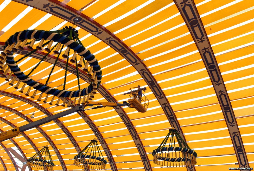 A festival tent is set up on the Oktoberfest grounds at Theresienwiese in Munich, Germany