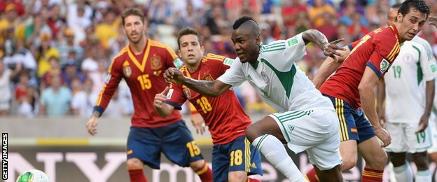 Nigerian Brown Ideye playing against Spain in the 2013 Confederations Cup in Brazil