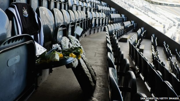 Floral tributes placed at Liam Sweeney's seat in St James' Park