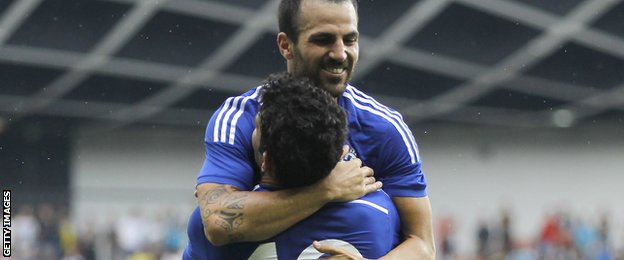Diego Costa and Cesc Fabregas celebrate