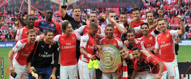 Arsenal celebrate with Community Shield