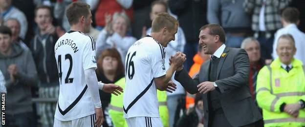 Gylfi Sigurdsson, Garry Monk and Brendan Rodgers