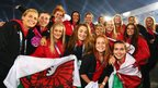 Welsh competitors soak up the atmosphere at the closing ceremony of the Commonwealth Games at Hampden Park.
