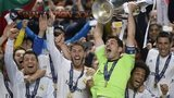 Iker Casillas lifts the Champions League trophy for Real Madrid