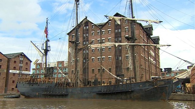 Tall ship at Gloucester Dock