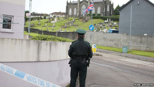 The graveyard has been cordoned off while the suspicious object is examined
