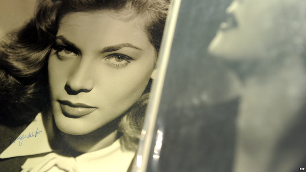 File photo: A signed photograph of Lauren Bacall at Bonhams and Butterfields in Los Angeles, California, during a preview before an auction, 14 April 2011