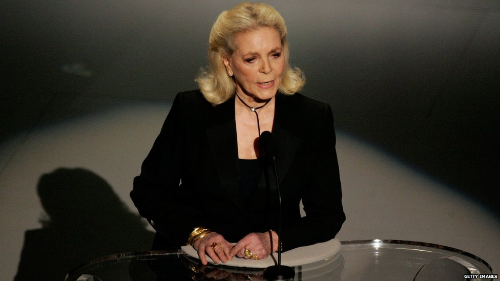 File photo: Actress Lauren Bacall speaks on stage during the 78th Annual Academy Awards in Hollywood, California, 5 March 2006