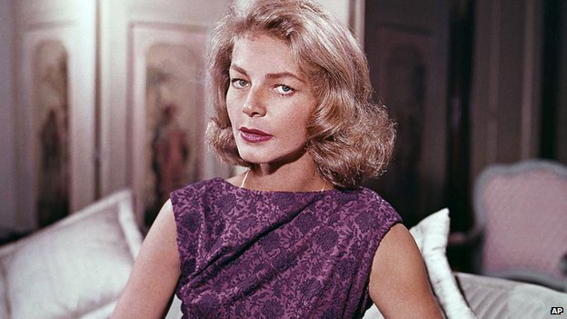 File photo, Lauren Bacall at her home in New York, 1965