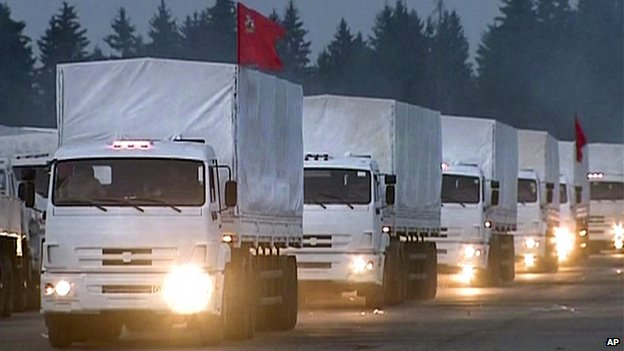 Still video image showing a convoy of white trucks with humanitarian aid leaving Alabino, outside Moscow