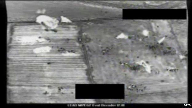 Aerial view of people on Mount Sinjar