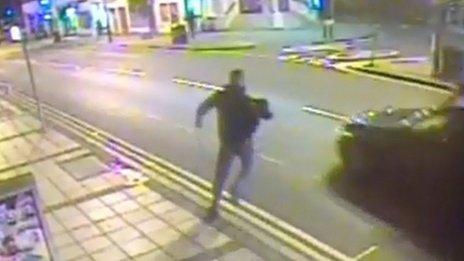 Suspect running away from burglary scene