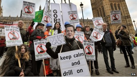 Fracking protest at the Houses of Parliament in 2012