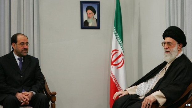 File photo of Nouri Maliki and Ayatollah Ali Khamenei