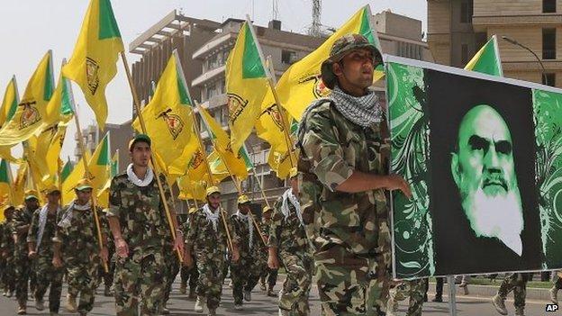 Supporters of Iraqi Hezbollah brigades