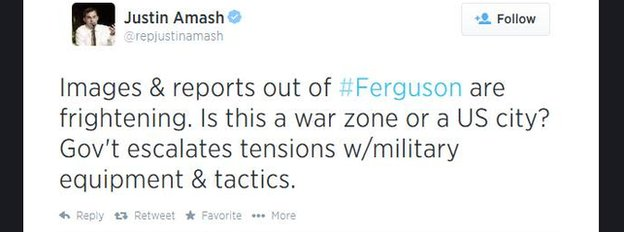 Representative Justin Amash tweets about the unrest in Ferguson, Missouri.