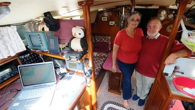 Clive and Jane Green on their yacht