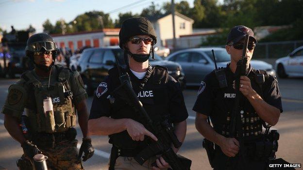 Armed police in Ferguson, Missouri