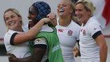 England's Rachael Burford, left, and Margaret Alphonsi, right, celebrate their win over Ireland
