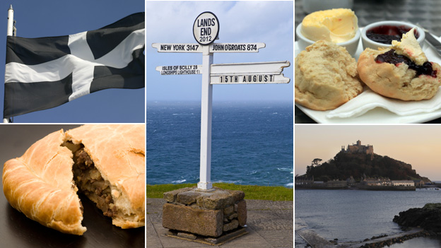 St Piran's flag, Cornish pasty, sign at Land's End, scone and St Michael's Mount