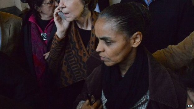 Marina Silva, vice presidential candidate of Eduardo Campos, in Santos, August 13, 2014.