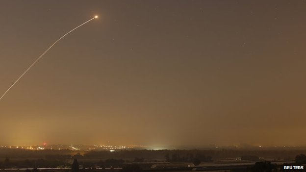 An interception by the Iron Dome anti-missile system is seen as rockets are launched from Gaza towards Israel before a 72-hour ceasefire was due to expire, 13 August 2014