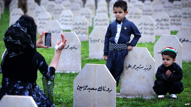 A family at the grave of a relative, killed in Halabja