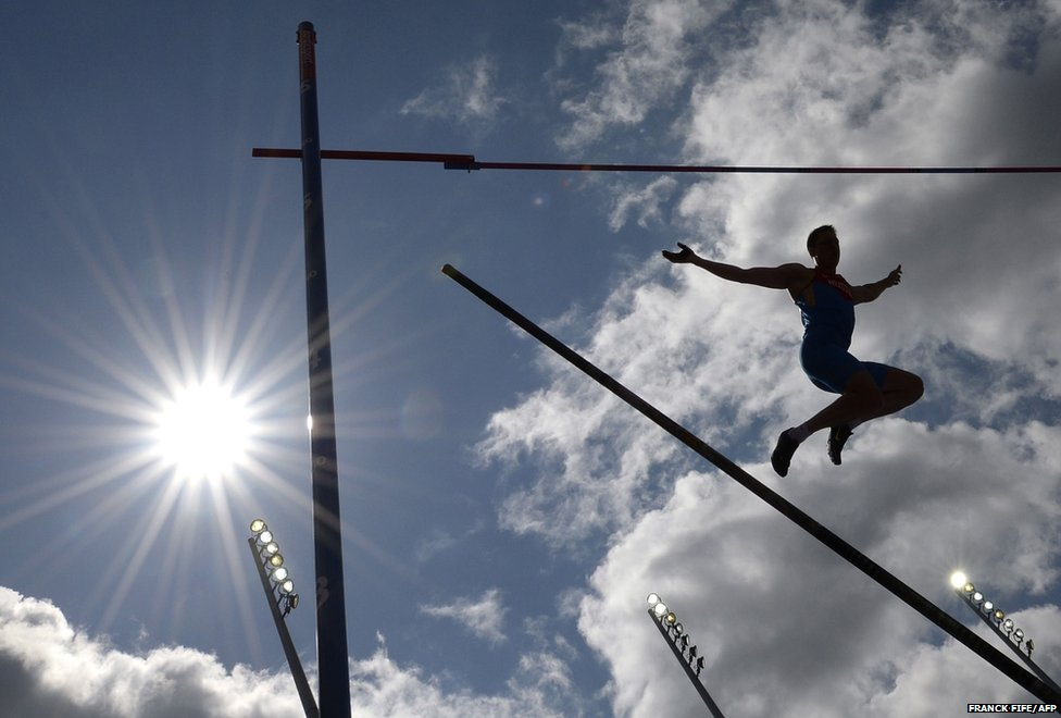Renaud Lavillenie of France competes in the men's pole vault qualification round