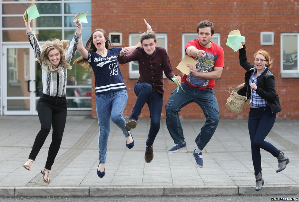 From left, Aislynn Bagnall, Eileen Muckian, Antone Bagnal, Micheal Heary and Catherine Donnelly, who are all students at St Pauls High School, Bessbrook, receive their A-level results,