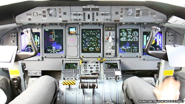 Cockpit of Dash 8 aircraft