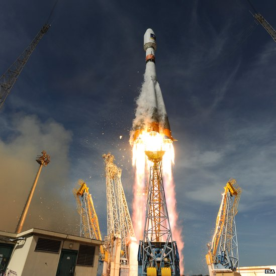 A Soyuz rocket lifting off from Europe's Kourou spaceport in French Guiana, with two Galileo test satellites, Oct 2012