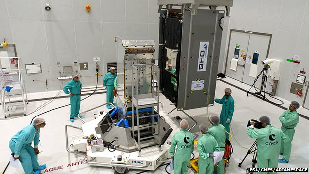 "Technicians at Kourou install the Galileo satellite ""Doresa"" on its payload dispenser system"