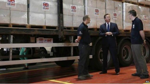 David Cameron at UK aid centre