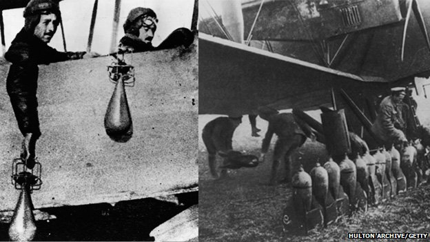 On the left, RAF pilots pose with bombs dropped by hand, on the right, bombs being loaded into a Handley Page heavy bomber