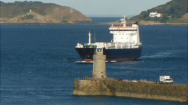 MV Arrow entering Guernsey's St Peter Port Harbour
