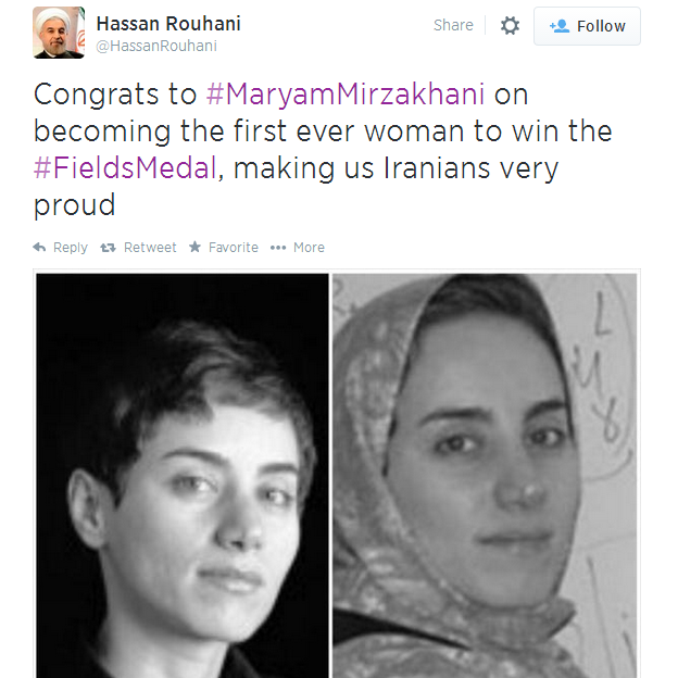 Hassan Rouhani's tweet showing Maryam Mirzakhani with and without a hijab