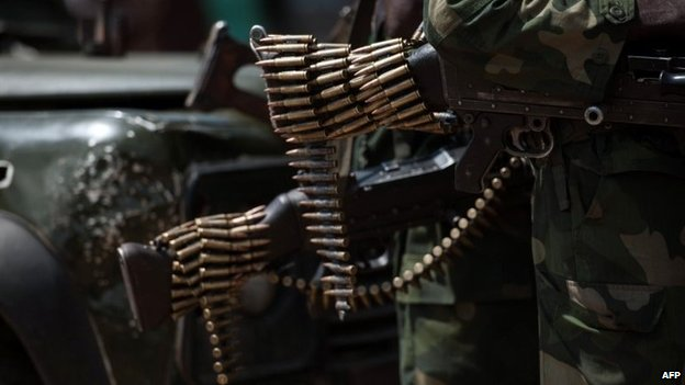 A bullet belt of an army soldier in eastern DR Congo