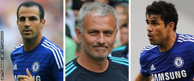 Chelsea midfielder Cesc Fabregas, manager Jose Mourinho and striker Diego Costa