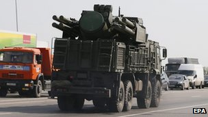 Russian missile launcher travelling with convoy